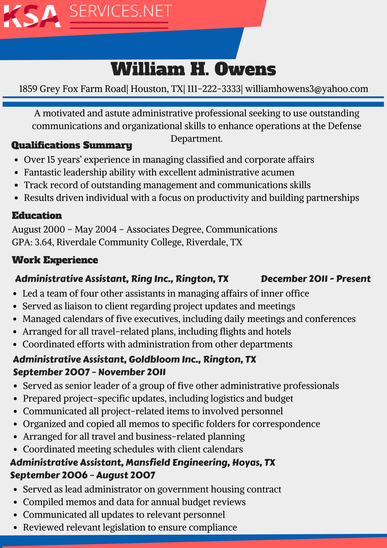 SES Resume Examples as a Writing Guide | KSA Services