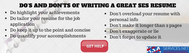 ses resume writing